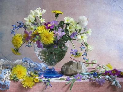 *** цветы букет первоцветы примула одуванчики хионодокса пролески наталия тихомирова celesta