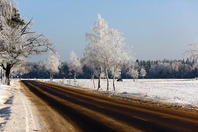 Поворот. зима снег дорога мороз природа