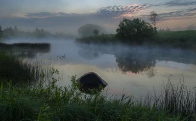 В тумане небо рассвет туман утро лето