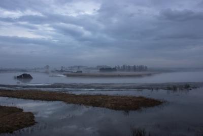 ***Седое утро пейзаж туман утро река