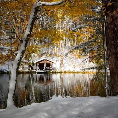 Осенний мотив... крым озеро снег осень деревья листва пейзаж