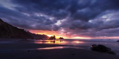 Угасающий свет прошедшего дня Испания Анага Тенерифе Бенихо скалы горы океан