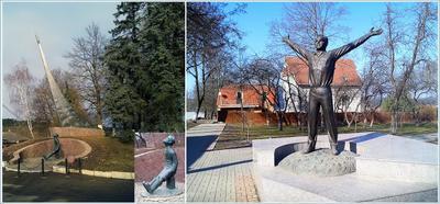 Ц и Г памятники Циолковский Гагарин любимые валенки Боровск Калуга март 2014