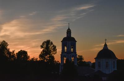 Закат закат церковь небо парк
