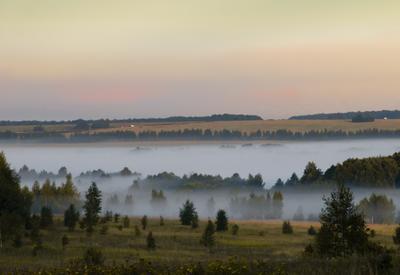 ***пробуждение рассвет туман утро долина