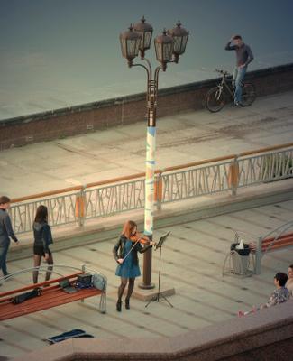Скрипачка и велосипедист