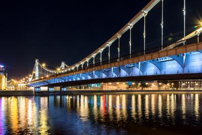 Крымский мост Мост москва река ночные краски свет ночи