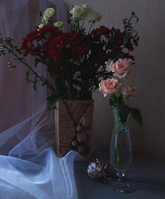 *** розы хризантемы букет натюрморт