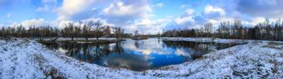 серия осенних панорам природа первый снег октябрь парк красота