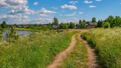 Сельская дорога Лето жара красивая природа река село