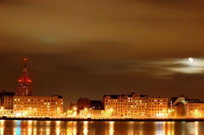 Ночная Рига ночь, город, Рига