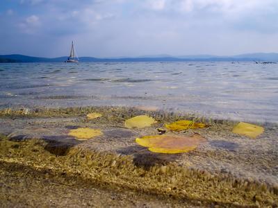 Закрытие сезона Южный Урал осень озеро яхта осенний лист