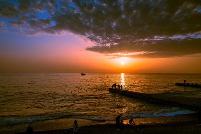 Закат на Чёрном море закат море Сочи берег пляж красота пейзаж вечер