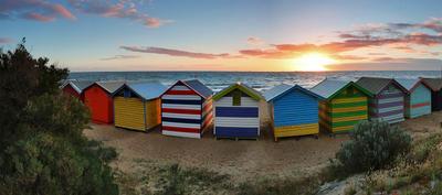 Цветастое настроение Melbourne australia Brighton beach boat houses sunset