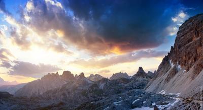 Доломитовая долина нац.парка Tre Cime доломиты, альпы, горы, пейзаж, природа, дмитрий воробей, закат, солнце, локатели, италия