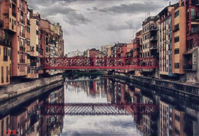 Colorful Gerona Gerone Spain отражение речка дождь весна vakomin