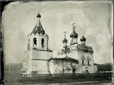 *** Храм церковь мокрый коллодий большой формат чб амбротип