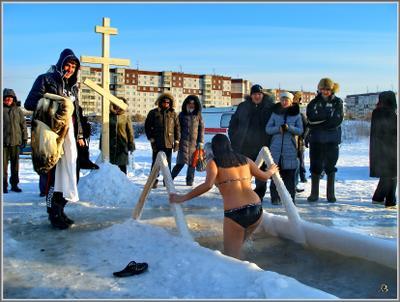 Крещение  3 Новосибирск мороз купель Крещение