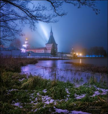 Валдайский Иверский мужской монастырь... Россия Валдай ночь церковь монастырь пейзаж архитектура