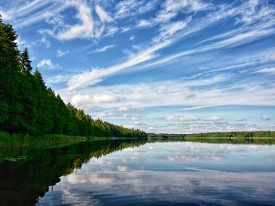Как в зеркале! отражение озеро облака пейзаж природа
