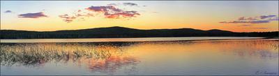 Закат на озере закат. озеро. лето