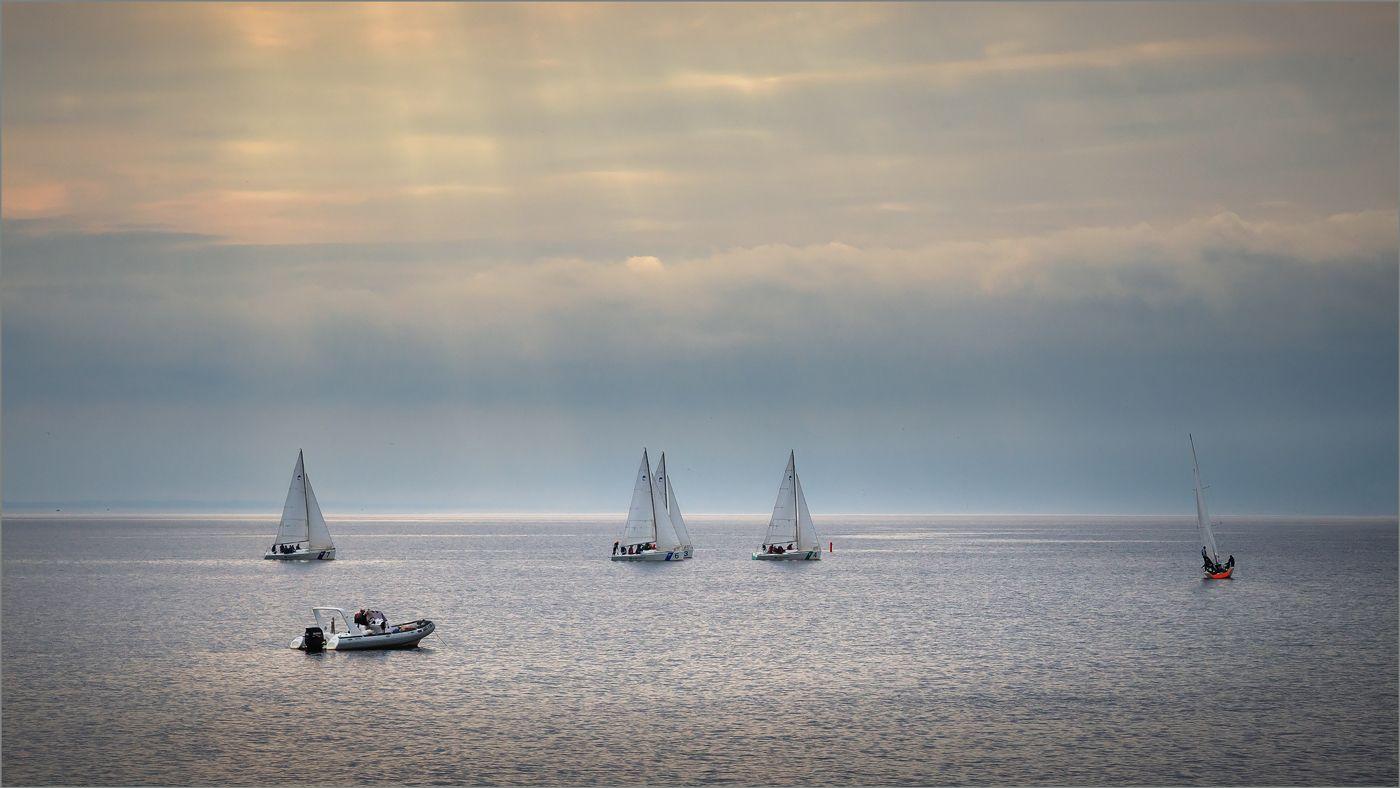 На просторе... залив яхты катер