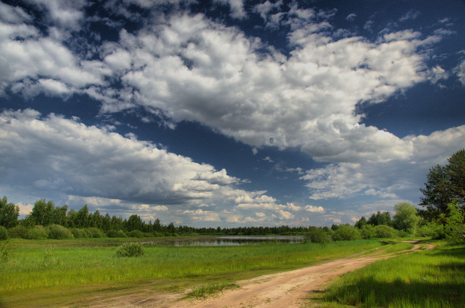 *** лето озеро облако дорога HDR