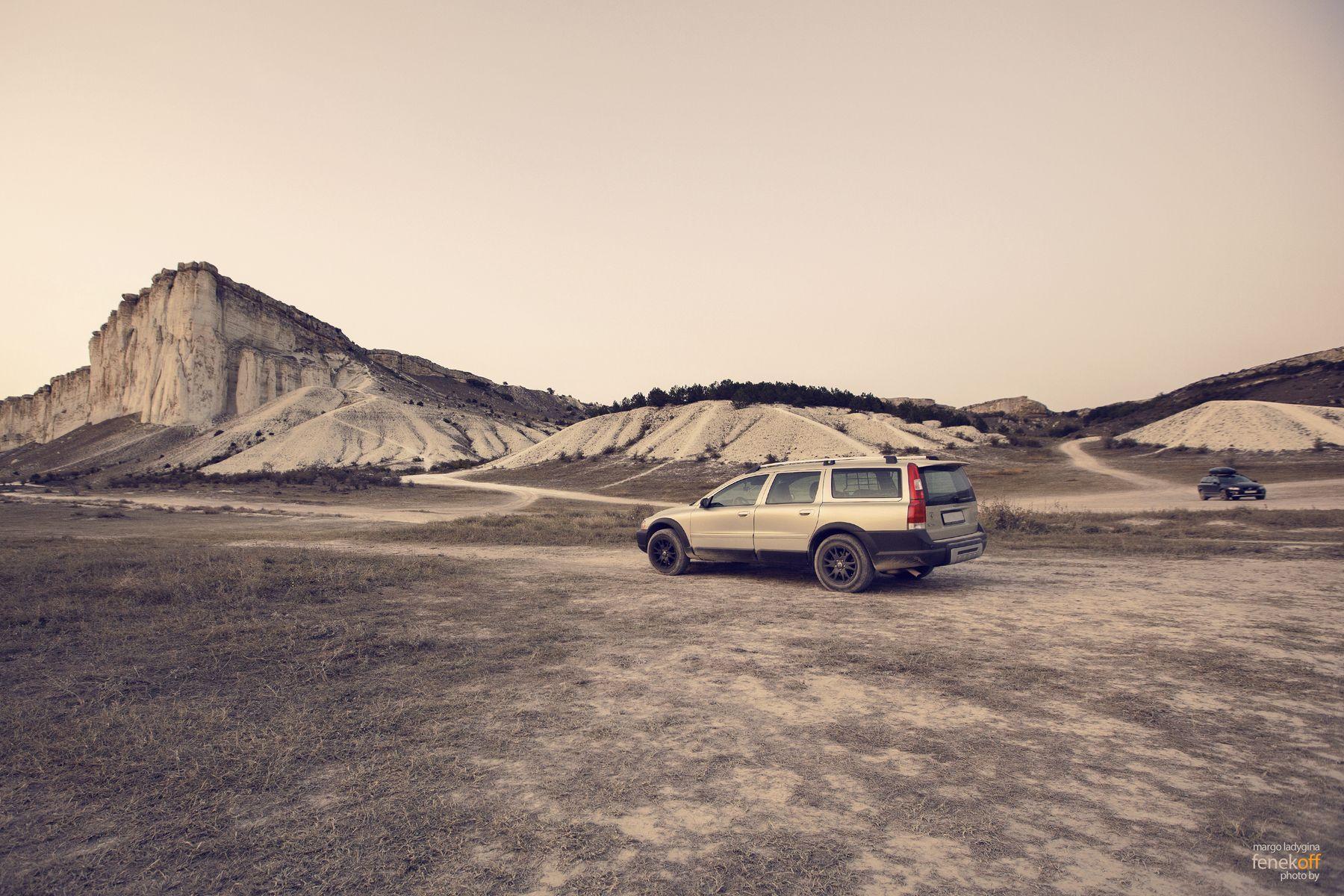 Путешествие по марсианскому пейзажу белая скала крым белогорск закат вольво хс70 путешествие white rock crimea belogorsk volvo xc70 cross country sunset