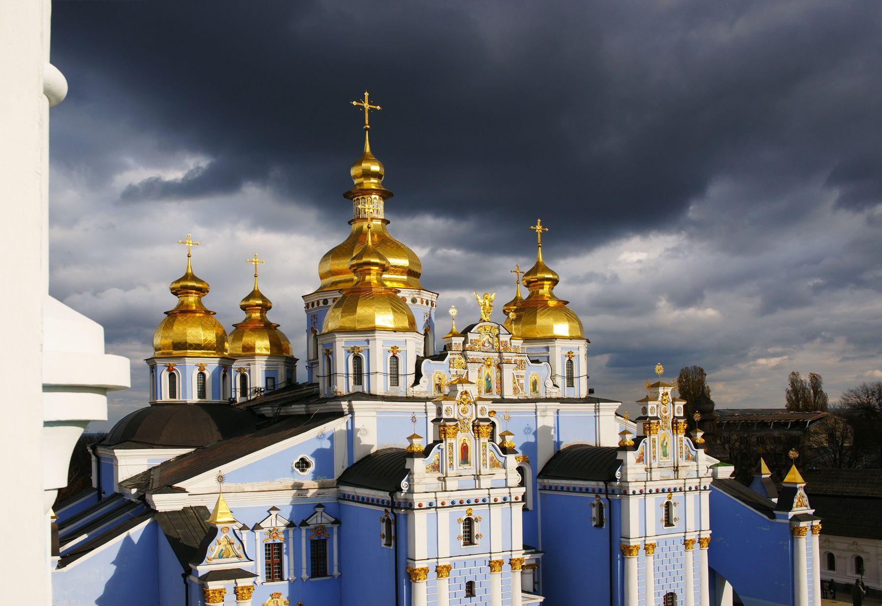 Гроза собирается Михайловский собор Киев вечер