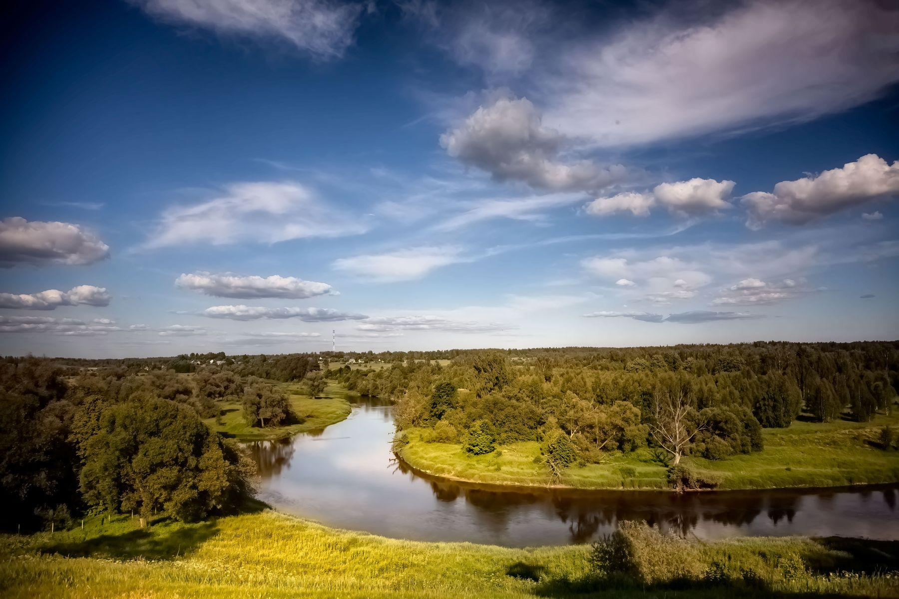 Лето *** река лес лето пейзаж облака