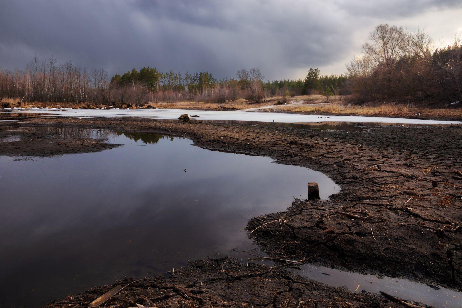 На дне пейзаж природа весна день озеро дно лужа Маклок
