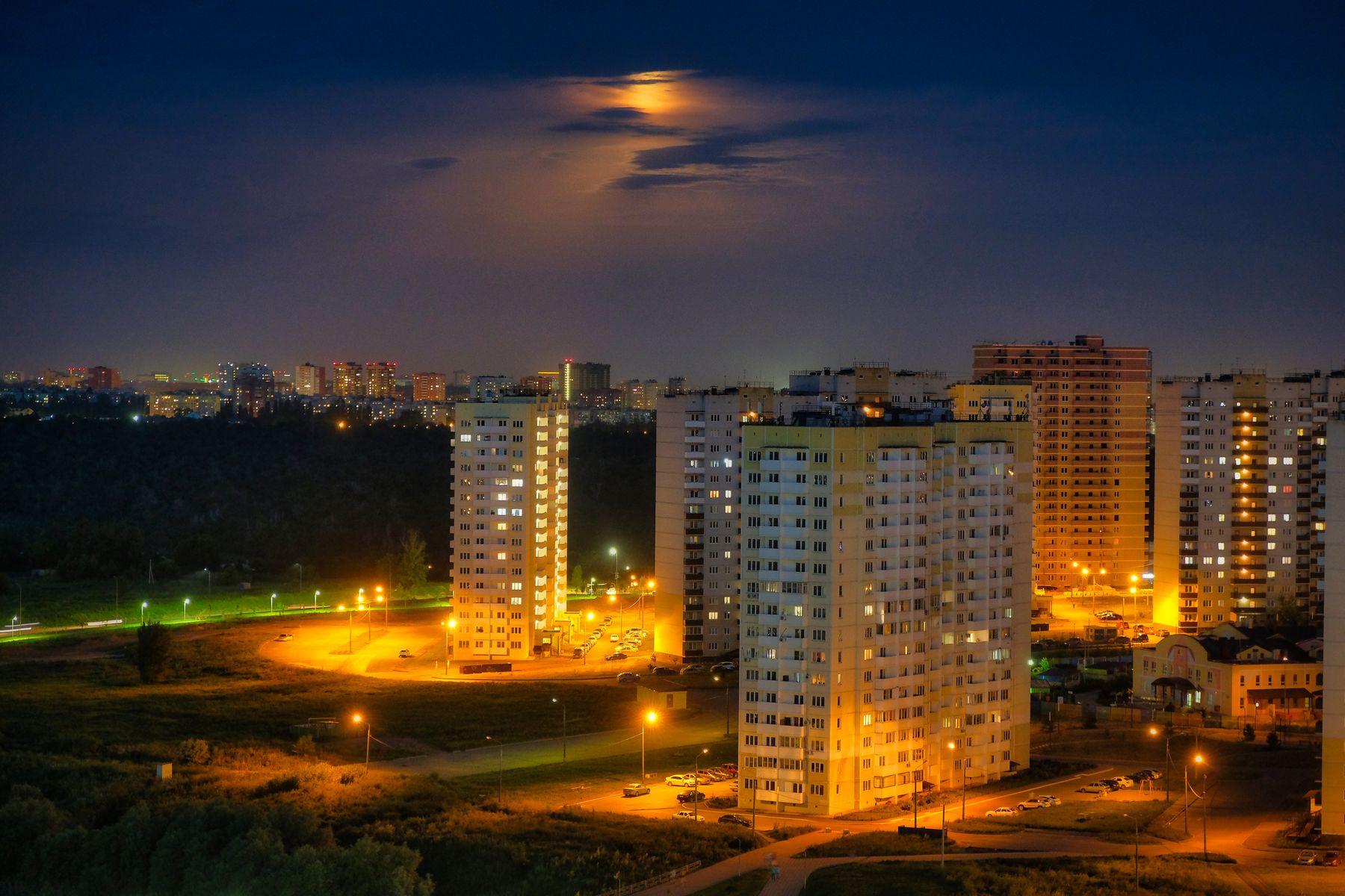 Луна над городом Ростов-на-Дону ночь небо город луна