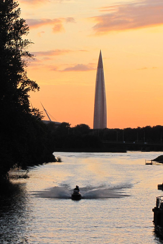 Закат на реке Ждановке Питер закат башня