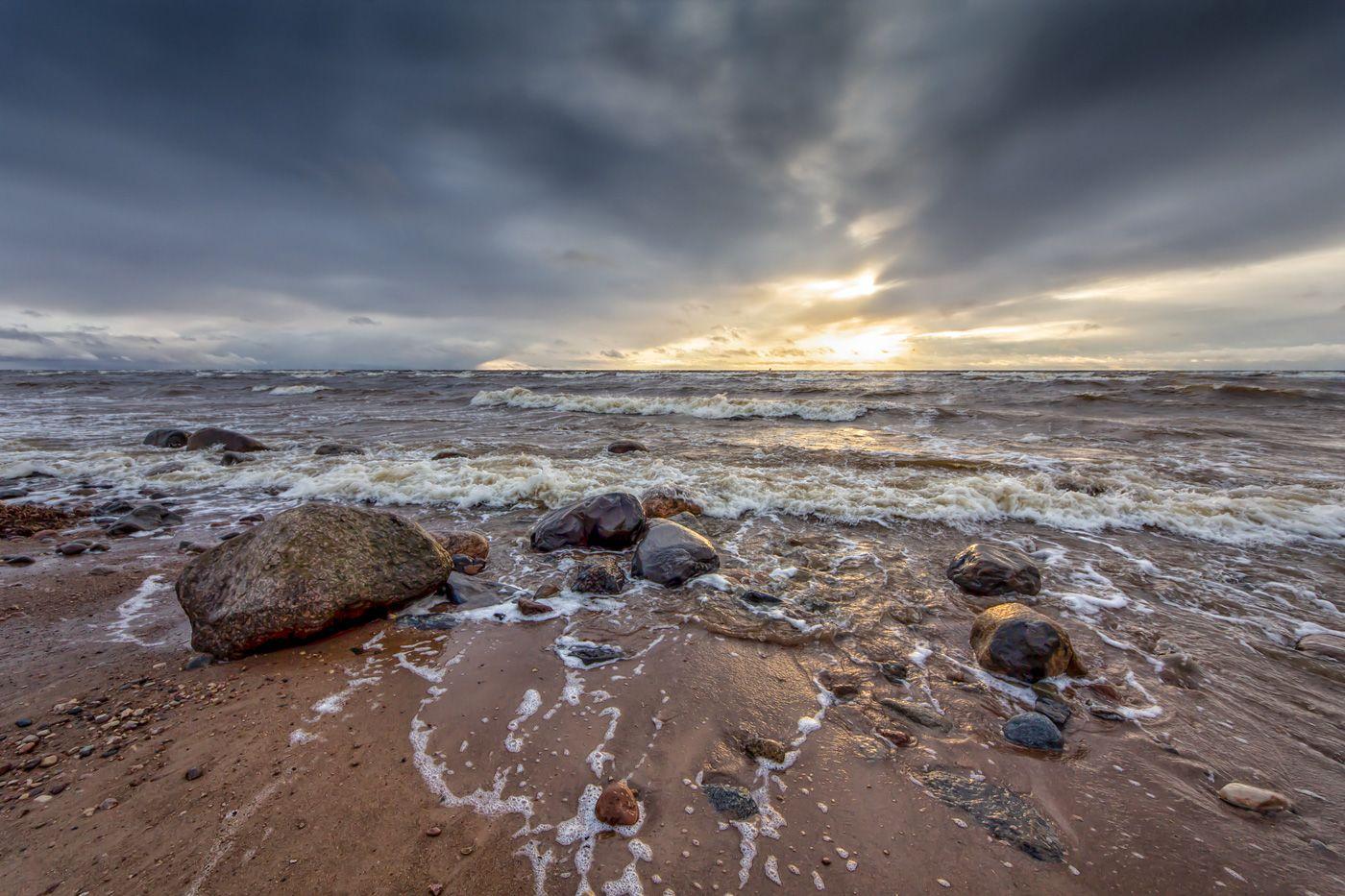 *** закат море камни волны