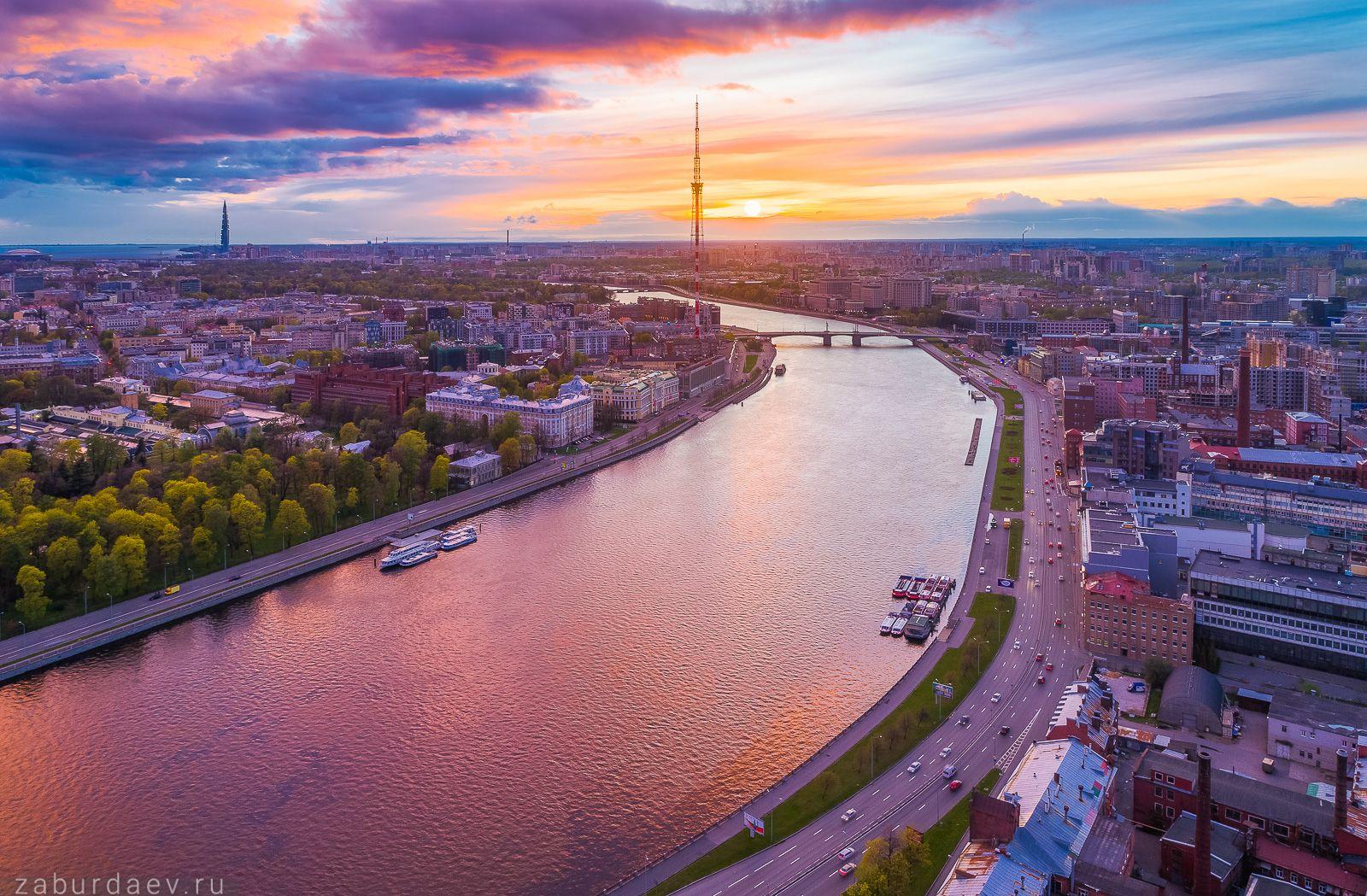 Перед дождем россия петербург весна вечер закат дрон река