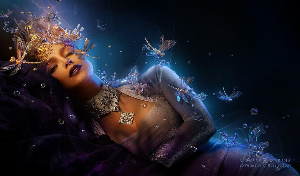 Пробуждение девушка фантазия сон украшения мечта пробуждение оранжевый синий мода стиль образ