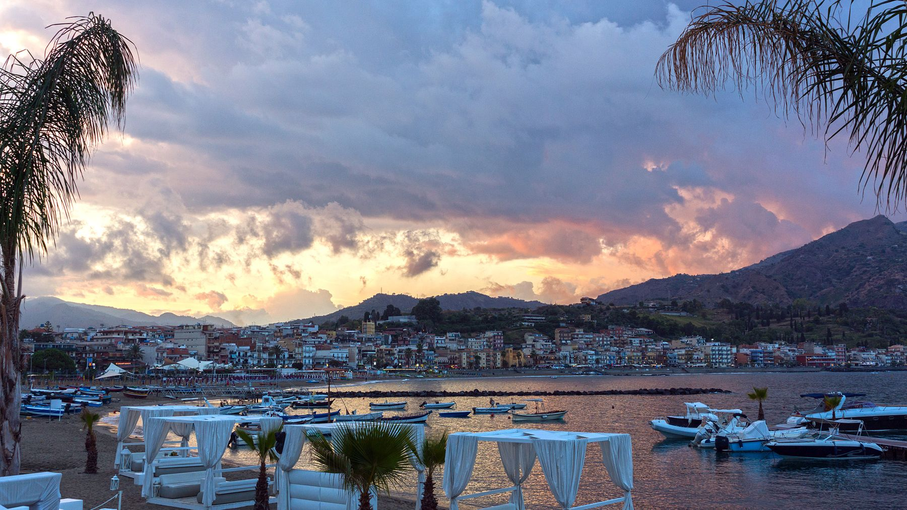Закат Италия Сицилия Naxos