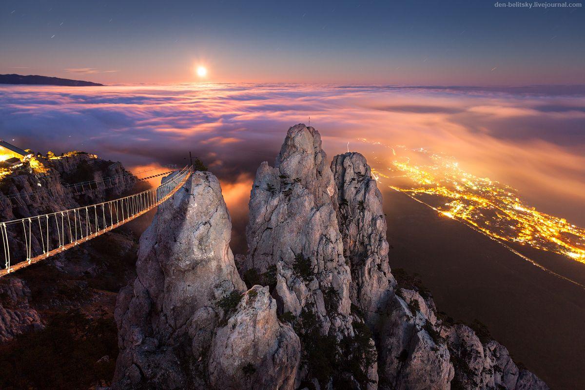 Восход луны над Ялтой, Ай-Петри (Крым) Ай-петри Крым Луна ночь полнолуние Ялта