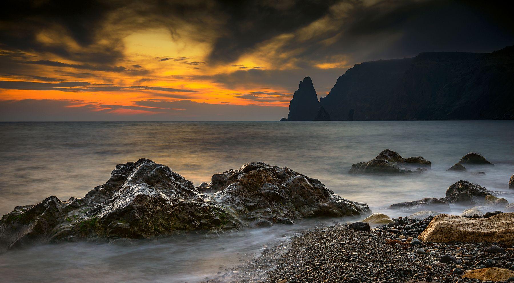 Камни Фиолента Крым природа пейзаж море вечер закат