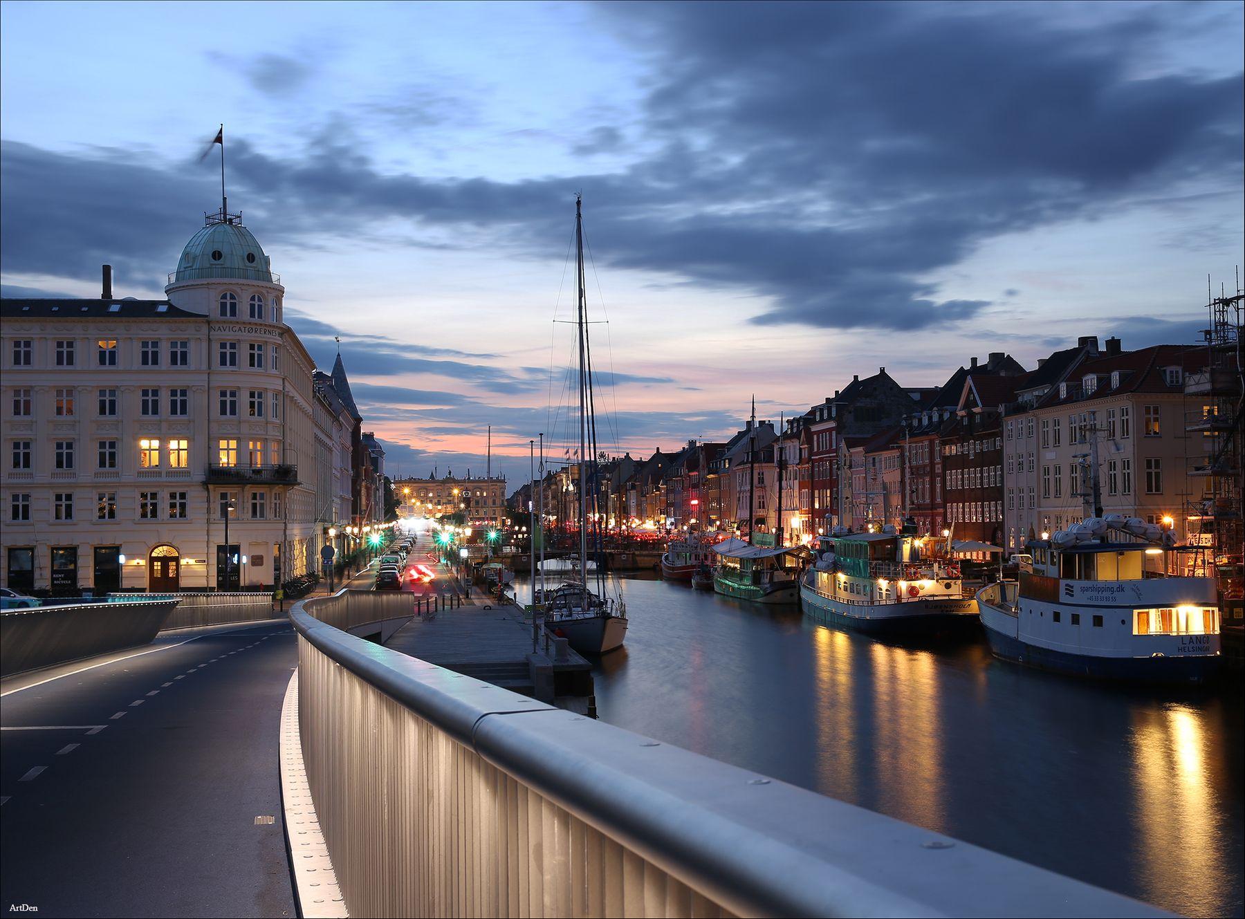 Нюхавн в Копенгагене Дания Копенгаген выдержка