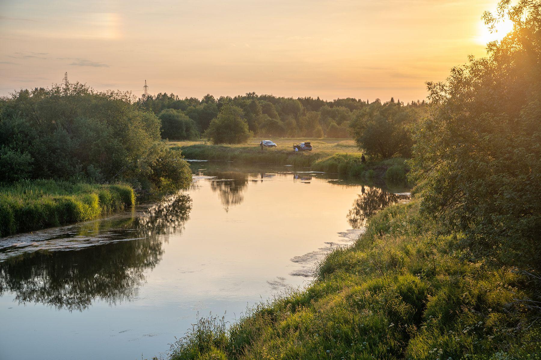 Летний вечер река природа Пермский_край пейзаж небо Лысьва лето закат вечер
