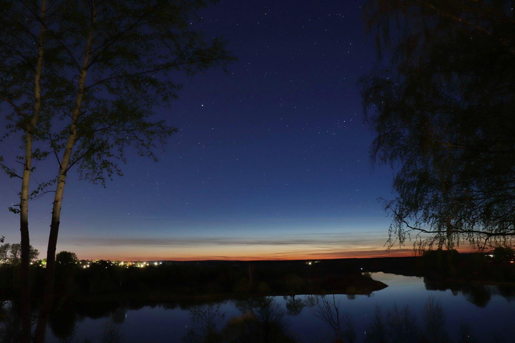 Поздний вечер. Звёзды над рекой Тезой. Шуя город река Теза Ивановская область вечер звёзды астрофотография