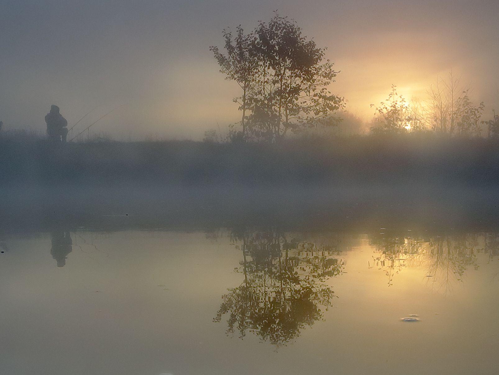 Тишина..... река свет рассвет утро туман