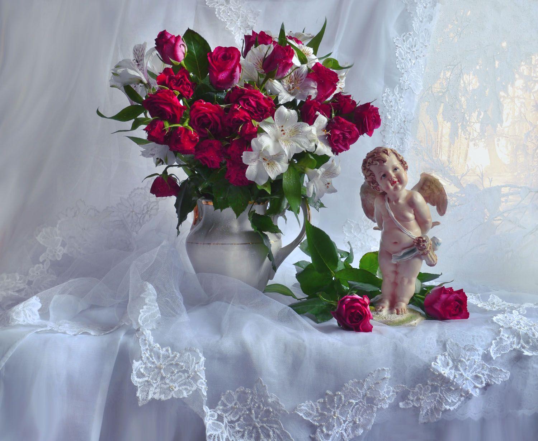 Татьянин день... альстромерия ангел фарфор статуэтка зима праздник розы татьянин день цветы январь