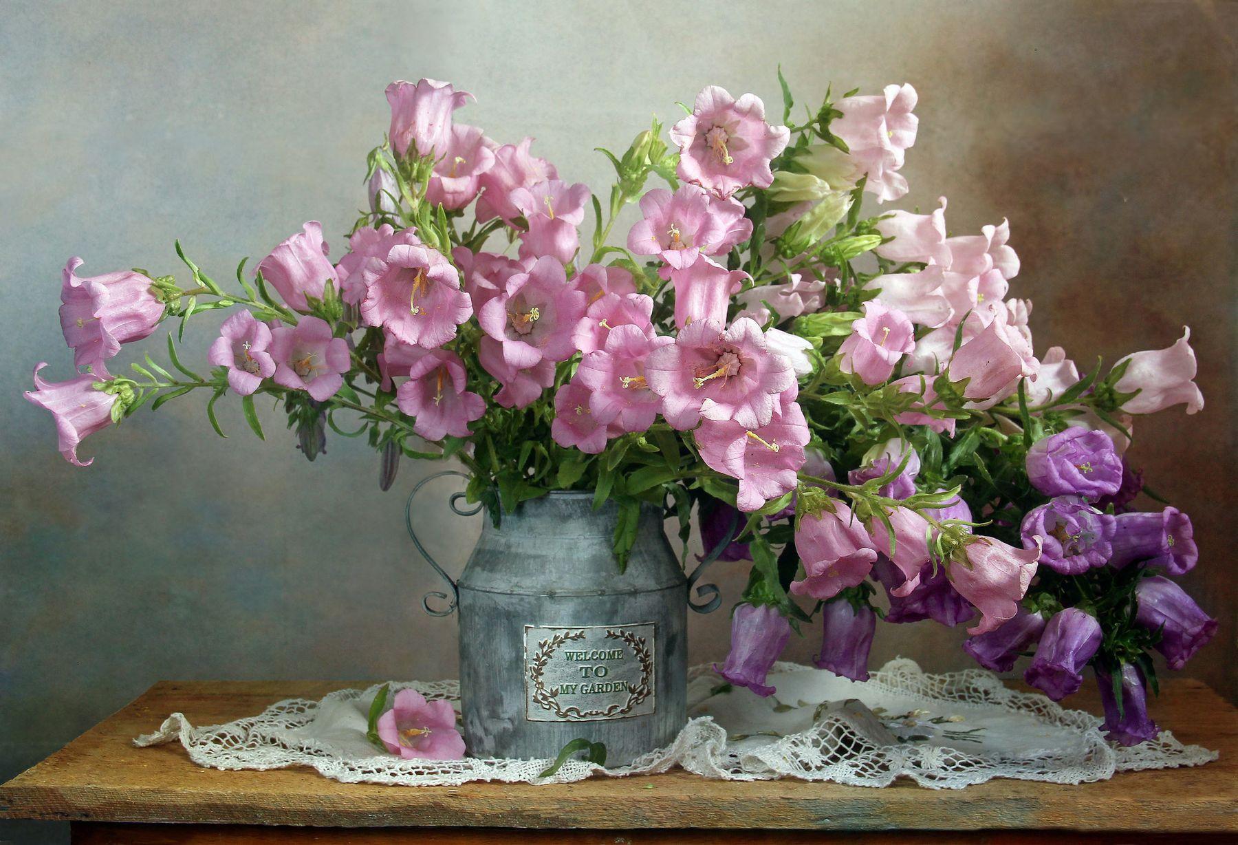 Цветок души, как нежный цвет зари Натюрморт колокольчики лето букет цветов
