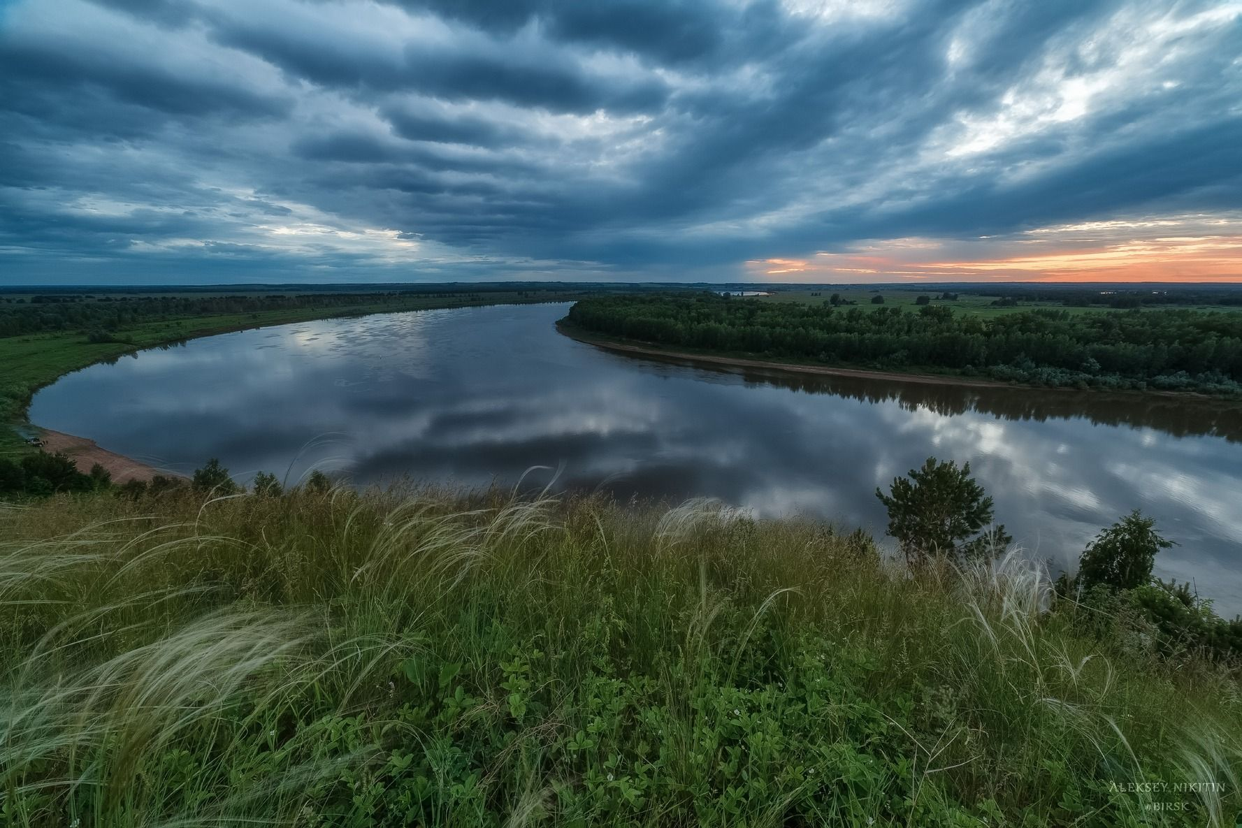 река Белая, после заката