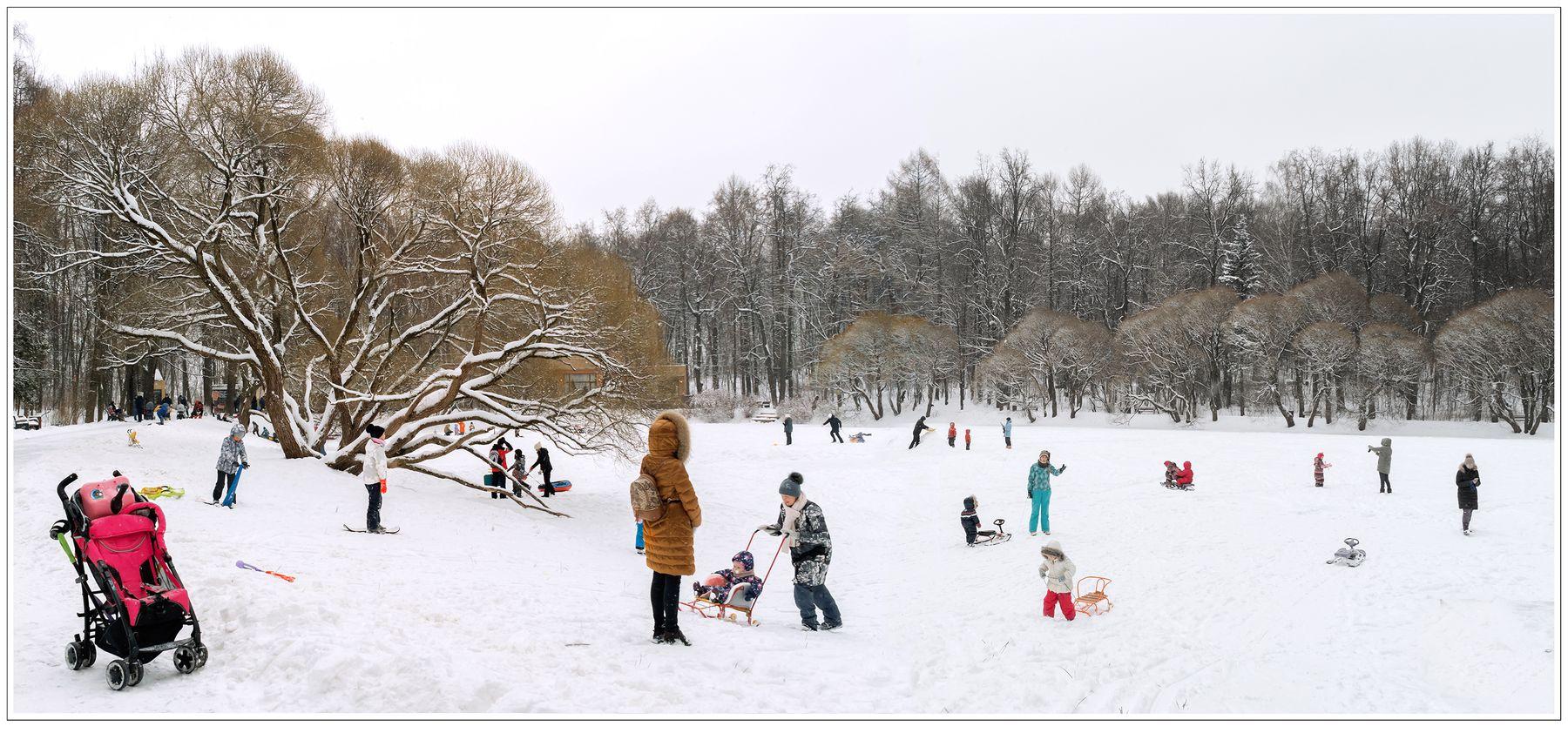 ***Воскресный день на зимнем пруду. Белый снег фигуры дети зима замерзший пруд ивы
