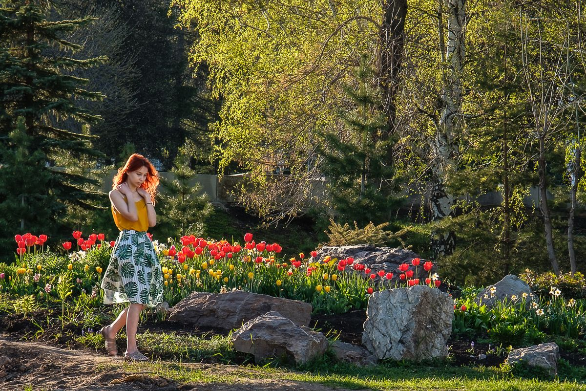 Наедине с собой девушка вечер тюльпаны