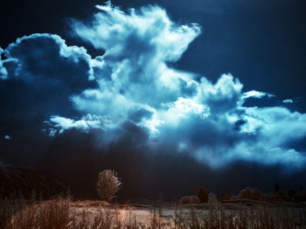 Скоро буря инфракрасная фотография infrared Киргизия небо облака