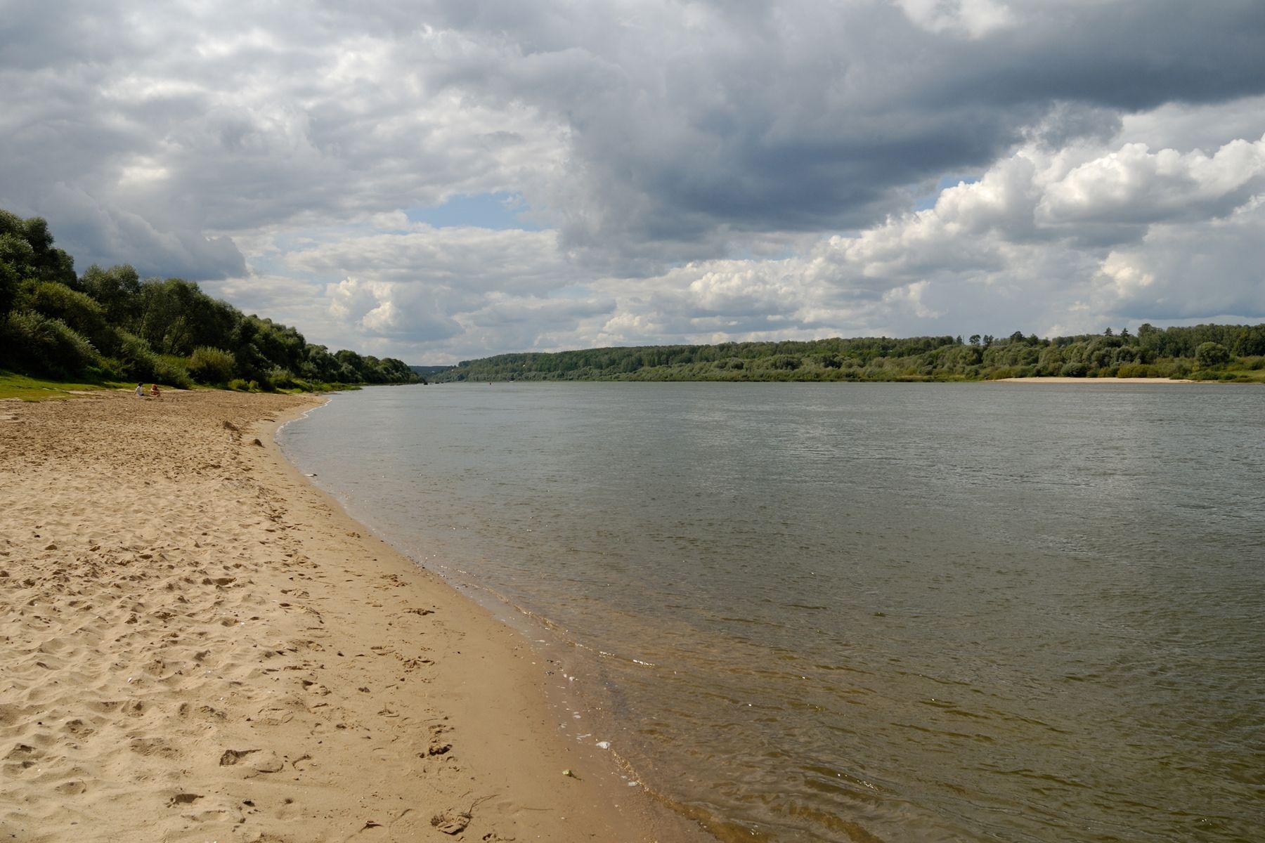 Песчаный пляж на Оке Россия Тульская область Поленово пейзаж Ока лето пляж